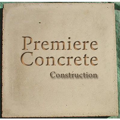 Premiere Concrete Los Angeles Logo Stone Cut